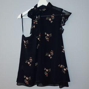 BCBGeneration one shoulder black floral blouse